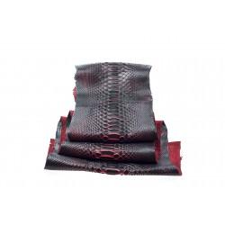 Skóra pytona czarny z czerwonym 1,3m