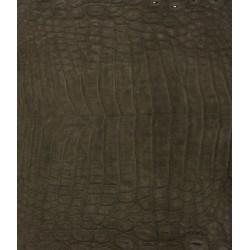 Skóra z brzucha krokodyla brązowa nubuk 38cm